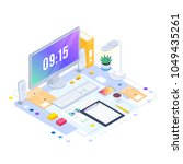 workspace. isometric concept of ... | Shutterstock .eps vector #1049435261