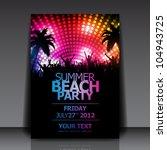 summer beach party vector flyer ... | Shutterstock .eps vector #104943725