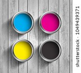 bucket of paint cmyk on a... | Shutterstock .eps vector #1049439371