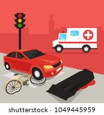 car driver hit cyclist by car.... | Shutterstock .eps vector #1049445959