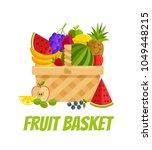 wicker basket full of fruits... | Shutterstock .eps vector #1049448215