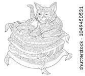 cat coloring page. adult... | Shutterstock .eps vector #1049450531