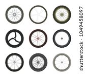 set of bicycle wheels in flat... | Shutterstock .eps vector #1049458097