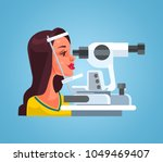 woman checking eyesight with... | Shutterstock .eps vector #1049469407