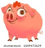 pretty pink pig isolated on... | Shutterstock .eps vector #1049472629