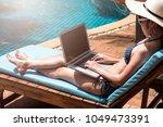 portrait beautiful girl woman... | Shutterstock . vector #1049473391