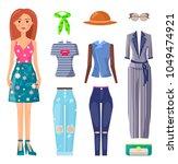 set of mode summer clothing ... | Shutterstock .eps vector #1049474921