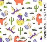 dinosaur seamless pattern ... | Shutterstock .eps vector #1049475191