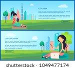central city park promotional... | Shutterstock .eps vector #1049477174