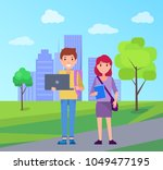 smiling students on background...   Shutterstock .eps vector #1049477195
