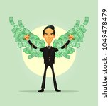 happy smiling rich wealthy... | Shutterstock .eps vector #1049478479