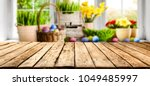 table background and easter... | Shutterstock . vector #1049485997