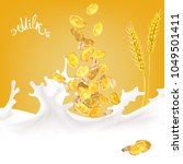 corn flakes oats milk spray 3d... | Shutterstock .eps vector #1049501411