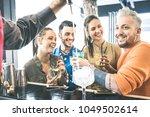 group of friends drinking...   Shutterstock . vector #1049502614