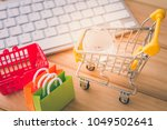 online internet global shopping ... | Shutterstock . vector #1049502641