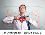 the office man opens a white...   Shutterstock . vector #1049514371