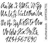 handdrawn dry brush font.... | Shutterstock .eps vector #1049536751