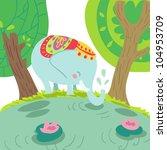 happy cartoon indian elephant | Shutterstock . vector #104953709