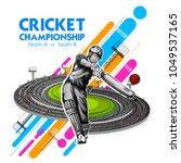 illustration of batsman playing ... | Shutterstock .eps vector #1049537165