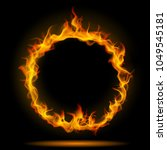 ring of fire flame on black... | Shutterstock . vector #1049545181