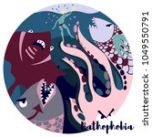 bathophobia vector illustration ... | Shutterstock .eps vector #1049550791