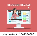 woman blogger review. fashion... | Shutterstock .eps vector #1049564585