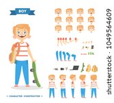 boy character set with poses... | Shutterstock .eps vector #1049564609