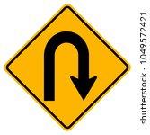 u turn right warning road sign... | Shutterstock .eps vector #1049572421