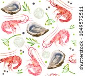 seamless pattern seafood.... | Shutterstock .eps vector #1049572511