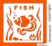 stencil for children. fish ... | Shutterstock .eps vector #1049573897