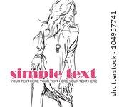 sexy summer girl in sketch...   Shutterstock .eps vector #104957741