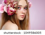 beautiful girl  isolated on a... | Shutterstock . vector #1049586005