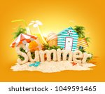 the word summer made of sand on ... | Shutterstock . vector #1049591465
