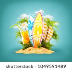 surf boards on paradise island... | Shutterstock . vector #1049591489