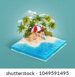deck chairs under the beach... | Shutterstock . vector #1049591495