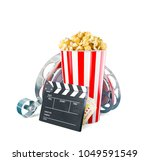 popcorn  cinema reel ... | Shutterstock . vector #1049591549