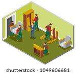 furniture delivery isometric... | Shutterstock .eps vector #1049606681