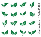green abstract leaf icons... | Shutterstock .eps vector #1049615489