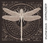 illustration of a dragonfly on... | Shutterstock .eps vector #1049620859