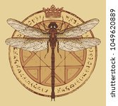 illustration of a dragonfly and ... | Shutterstock .eps vector #1049620889