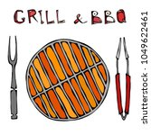 grill and bbq empty on fire.... | Shutterstock .eps vector #1049622461