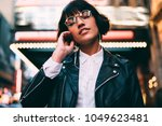 brunette stylish hipster girl... | Shutterstock . vector #1049623481