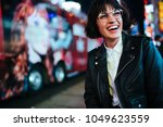 cheerful hipster girl in... | Shutterstock . vector #1049623559