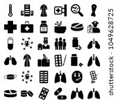 illness icons. set of 36... | Shutterstock .eps vector #1049628725