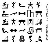 workout icons. set of 25... | Shutterstock .eps vector #1049628749