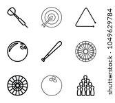 hit icons. set of 9 editable... | Shutterstock .eps vector #1049629784