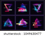 glitched triangle frame design... | Shutterstock .eps vector #1049630477