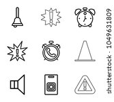alert icons. set of 9 editable... | Shutterstock .eps vector #1049631809