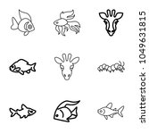 fauna icons. set of 9 editable... | Shutterstock .eps vector #1049631815