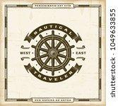 vintage nautical traveler label.... | Shutterstock .eps vector #1049633855